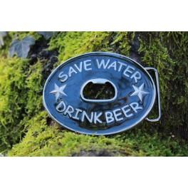 "Boucle ""Save water, drink beer"" pour ceinture en cuir, interchangeable de 4cm"