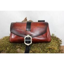 Petite besace du marchand, sacoche de ceinture en cuir